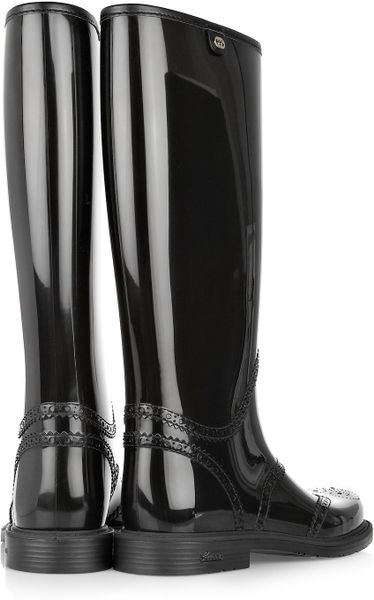 Gucci Brogue Style Wellington Boots In Black Lyst