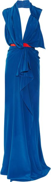 Vionnet Silk Crepe De Chine Gown in Blue (cobalt)