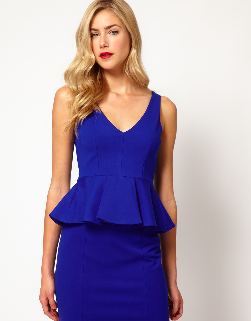 Coast Idette Tailored Peplum Top with Belt in Blue (cobalt) | Lyst