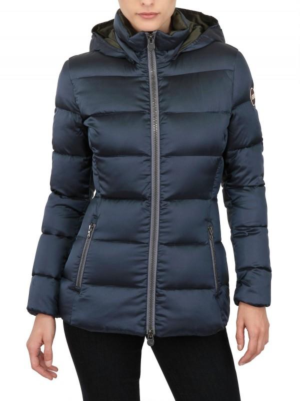colmar hooded satin light nylon down jacket in blue lyst. Black Bedroom Furniture Sets. Home Design Ideas