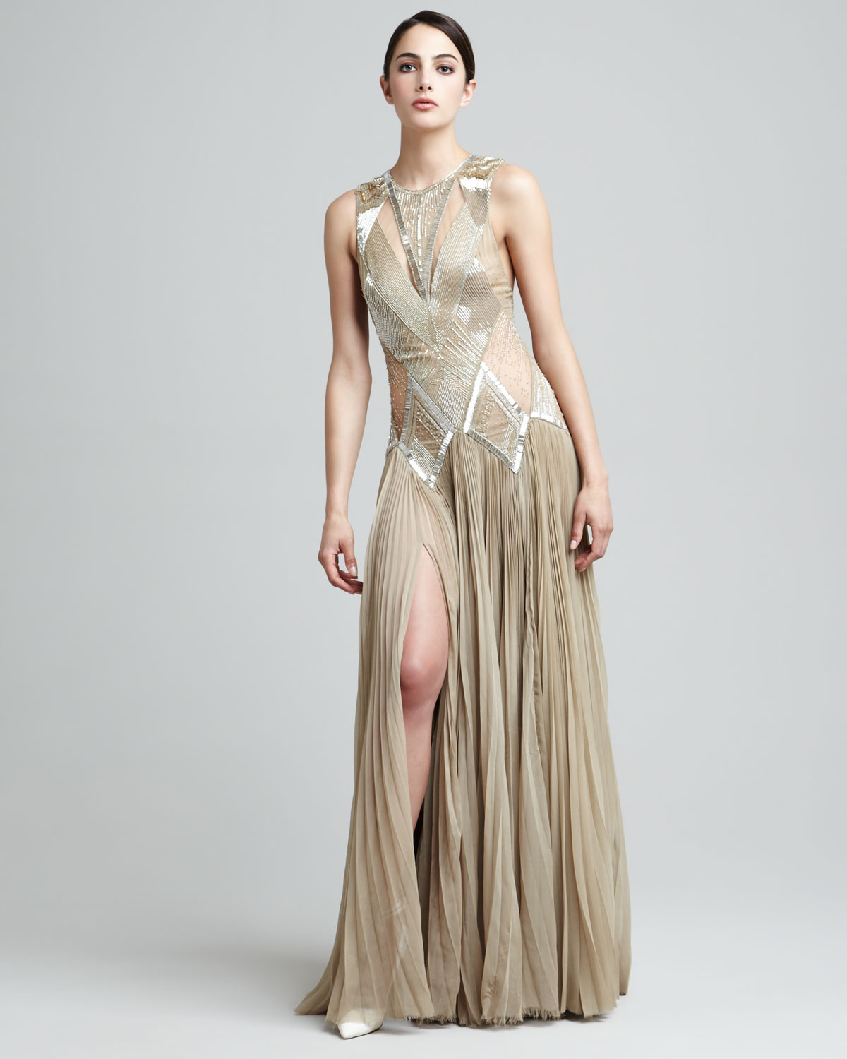 J mendel beaded deco dropwaist gown in beige taupe lyst for Deco taupe et beige