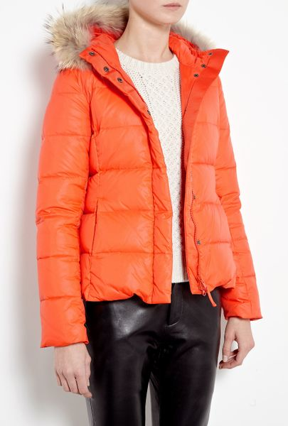 Joseph Kelly Fur Trim Short Puffer Coat In Orange Lyst