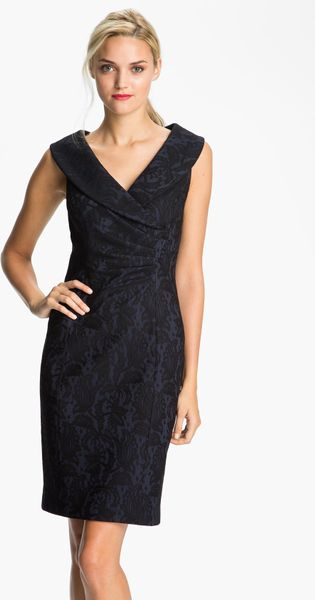Kay Unger Portrait Collar Lace Jersey Sheath Dress In Blue