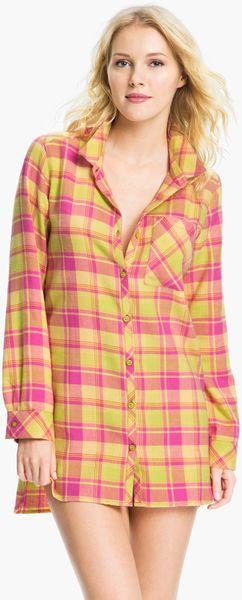 Make + Model In The Woods Flannel Nightshirt in Pink (multiplaid orange) - Lyst