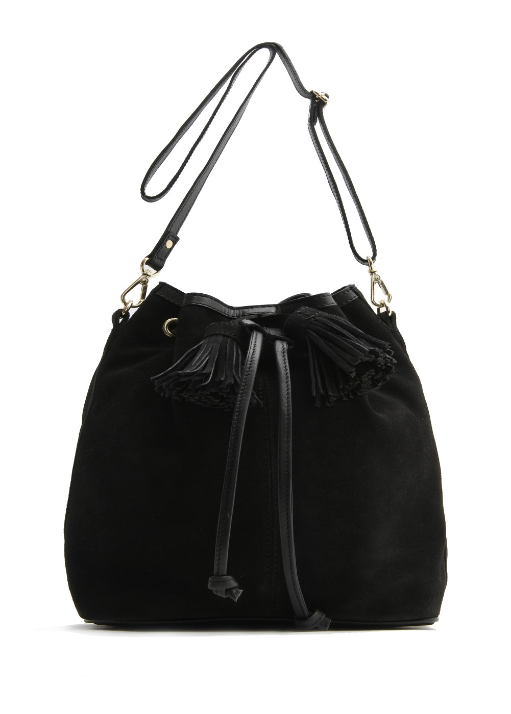 Mango Touch Suede Bucket Bag In 02 Black Lyst