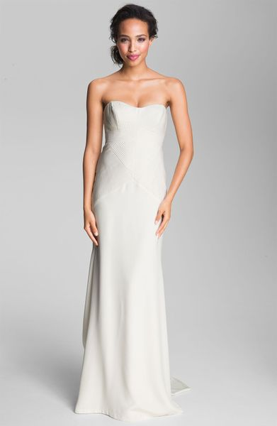 Nicole Miller Pleated Bodice Silk Charmeuse Gown In White