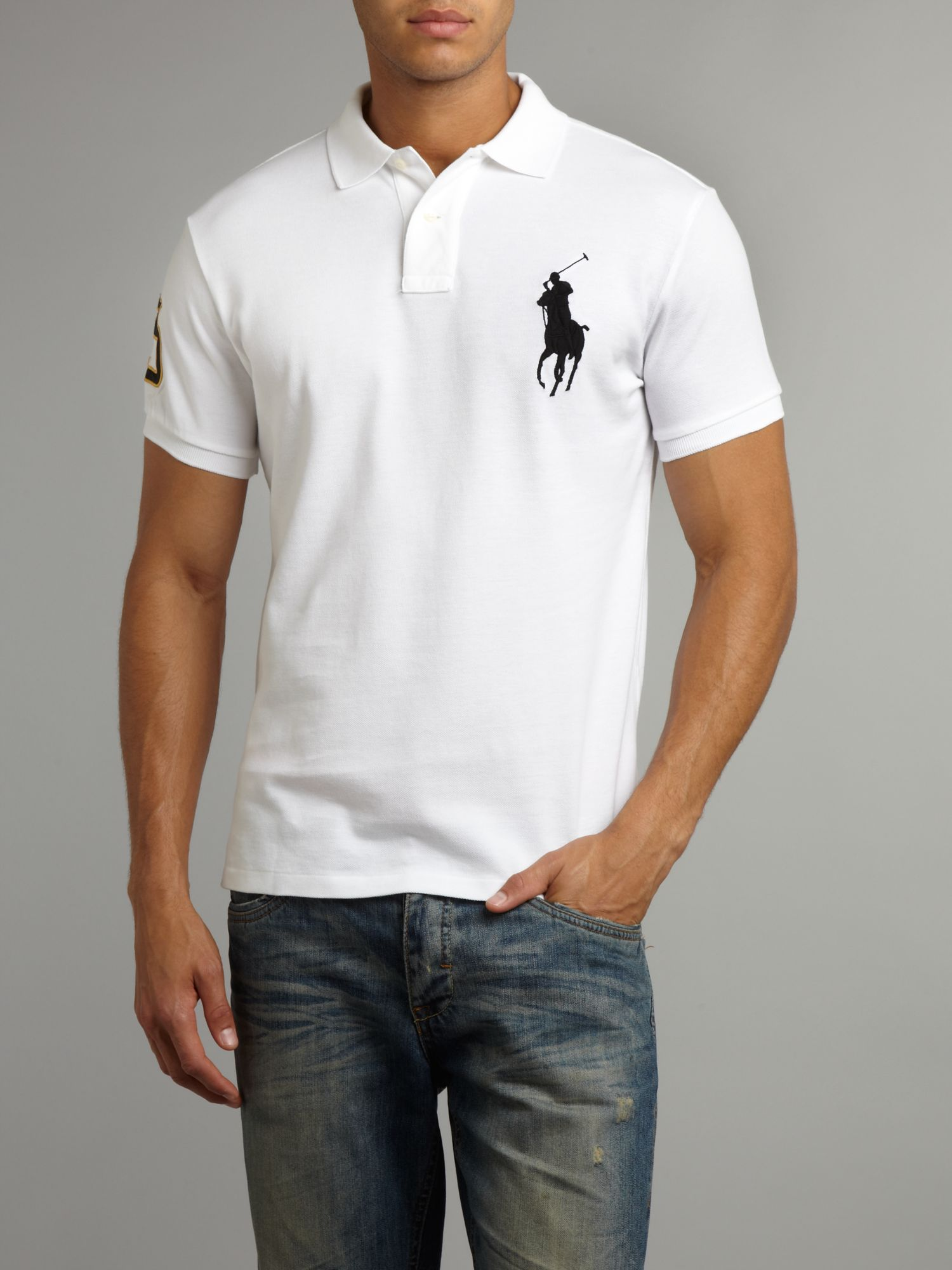 Black and white ralph lauren polo big pony ralph lauren for Big and tall custom polo shirts