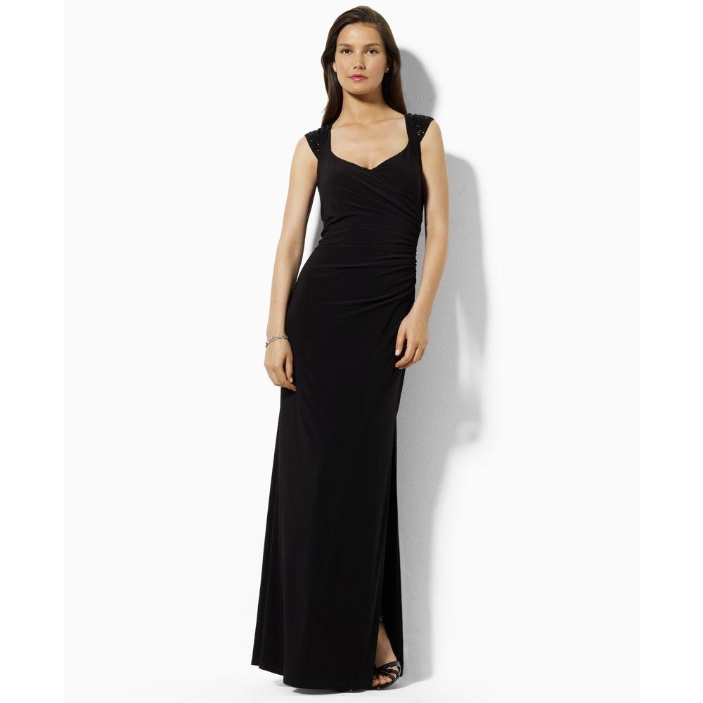 Lyst Ralph Lauren Beaded Evening Gown In Black