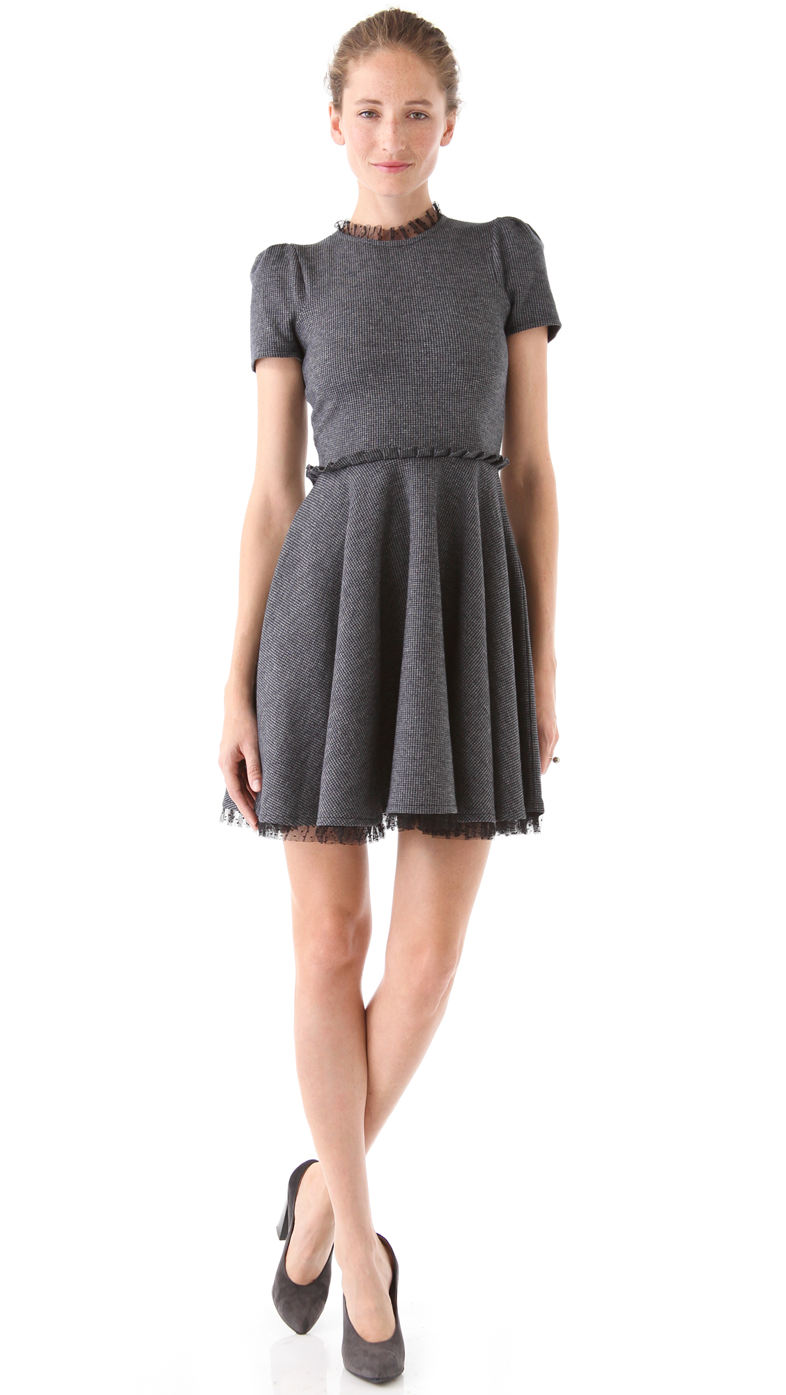 Red Valentino Tie Neck Sweater Dress In Gray Lyst
