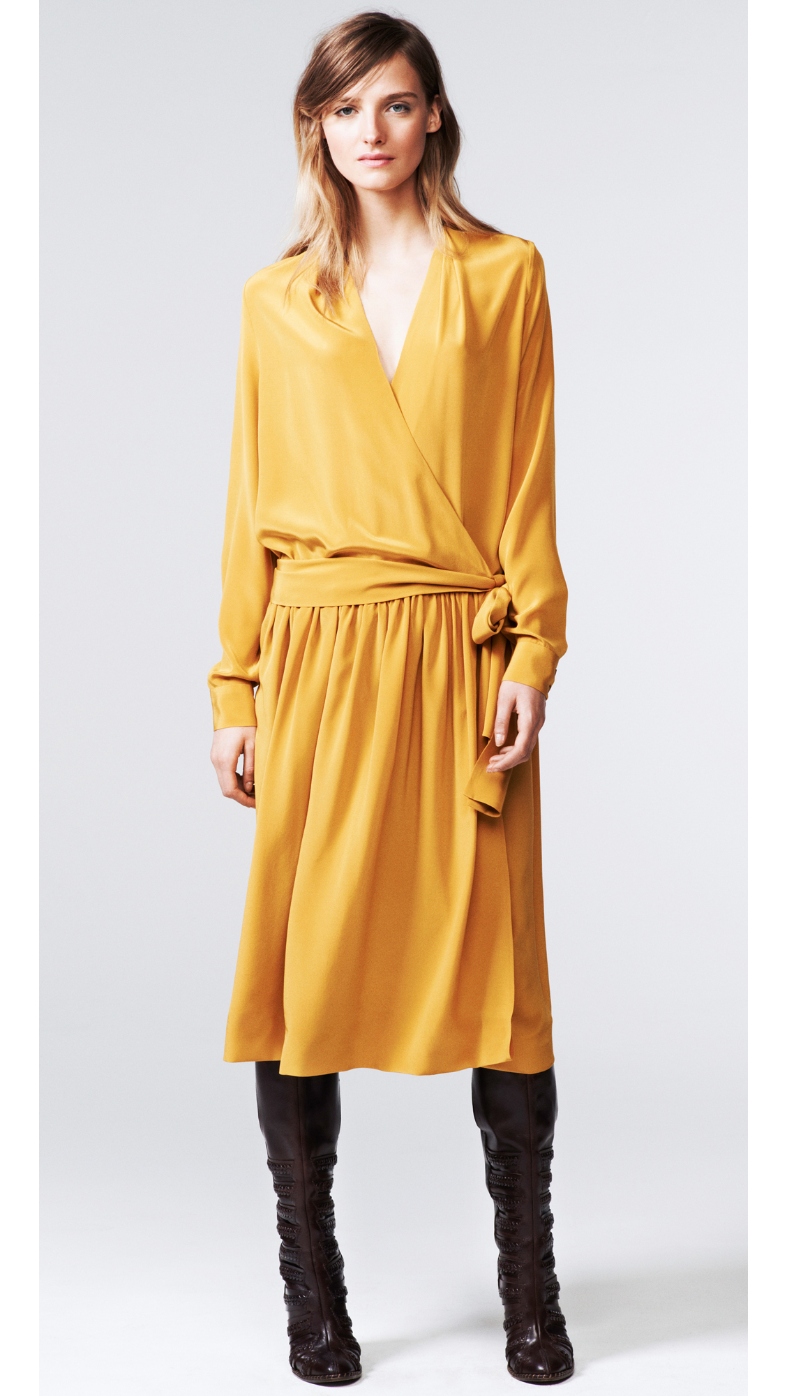 Thakoon addition Long Sleeve Wrap Dress in Yellow - Lyst