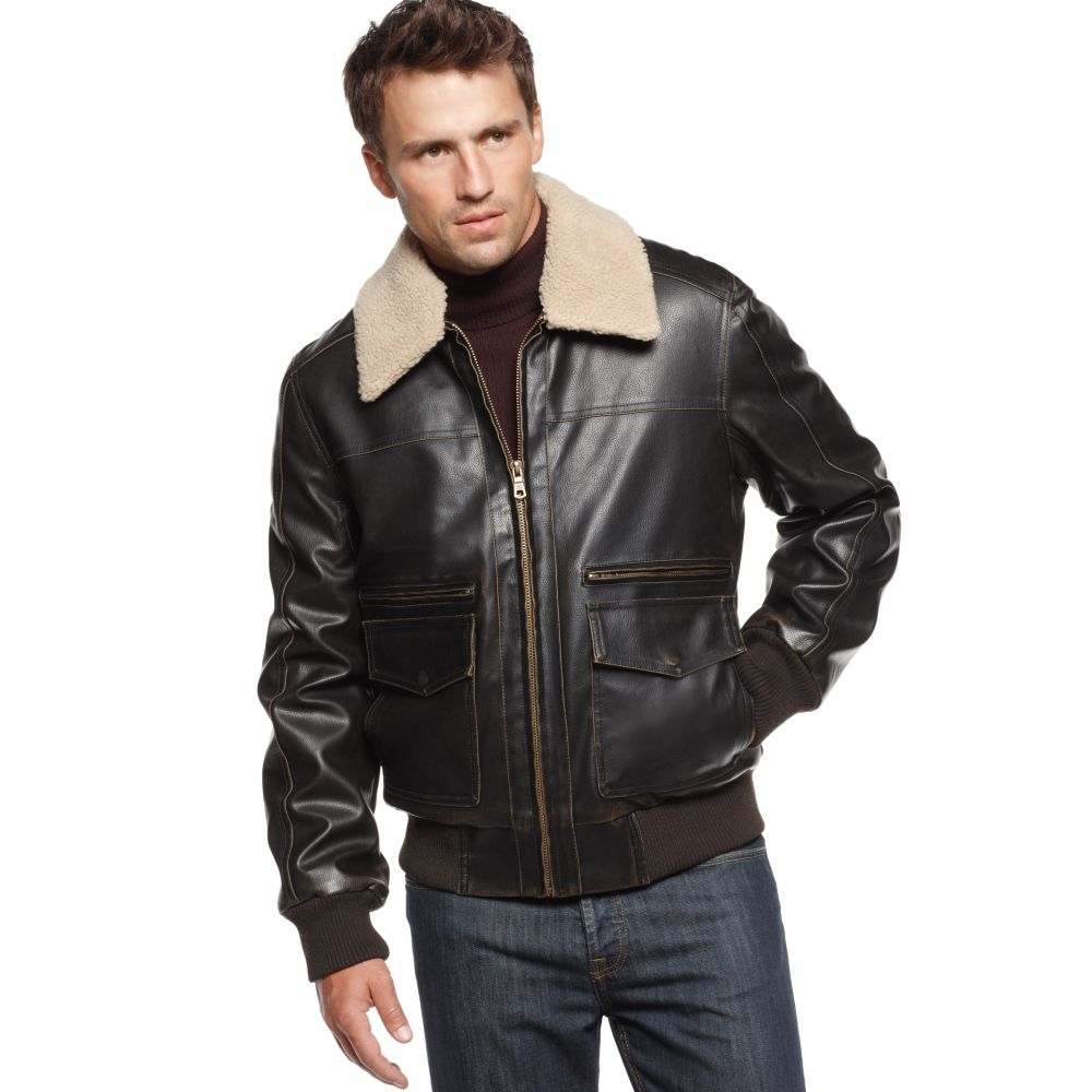 Tommy hilfiger Fauxleather Aviator Bomber Jacket in Brown for Men ...
