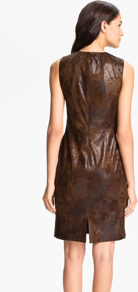 Vince Camuto Sleeveless Faux Leather Sheath Dress In Brown