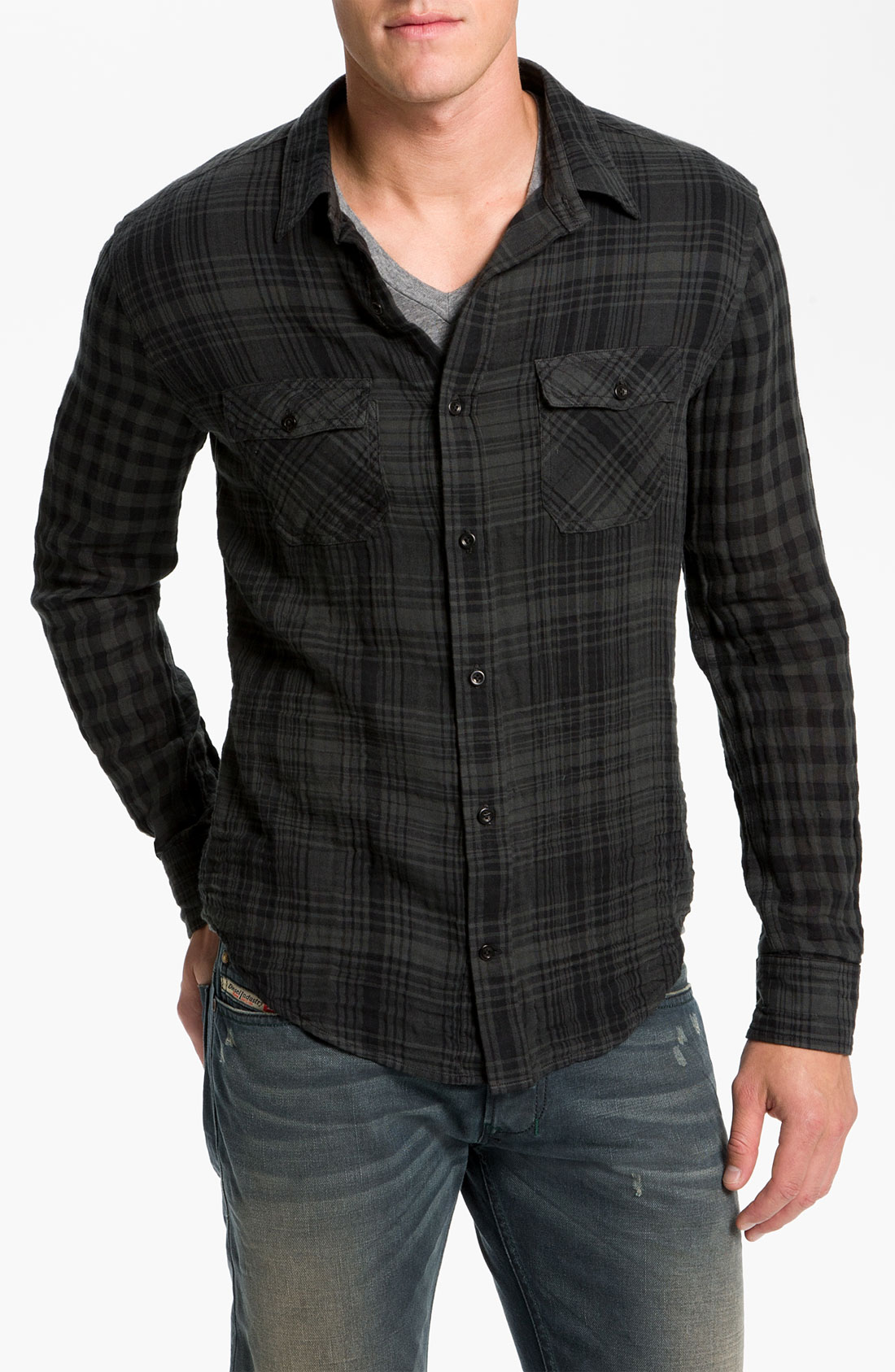 Vince dual plaid flannel shirt in black for men lyst for Black watch flannel shirt