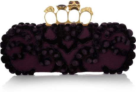 Alexander Mcqueen Knuckle Embellished Brocade Box Clutch in Purple (eggplant)