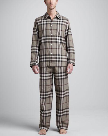 Burberry Check Pajama Set, Camel in Beige for Men (camel