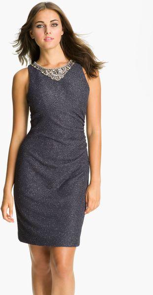 Eliza J Embellished Neck Glitter Mesh Sheath Dress In Gray