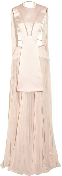 Esteban Cortazar Cutout Satin and Chiffon Gown - Lyst