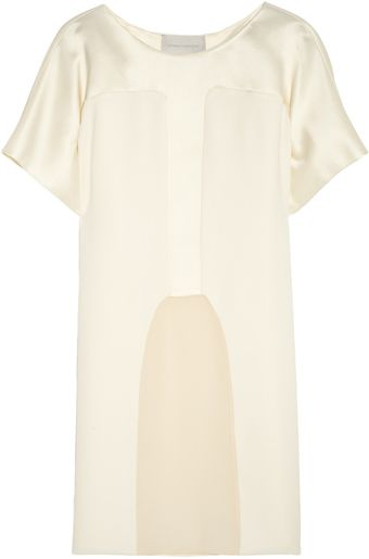 Esteban Cortazar Paneled Cady Duchess Satin and Chiffon Top - Lyst