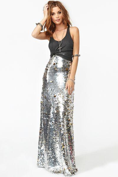 Nasty Gal Gina Sequin Maxi Skirt in Silver | Lyst
