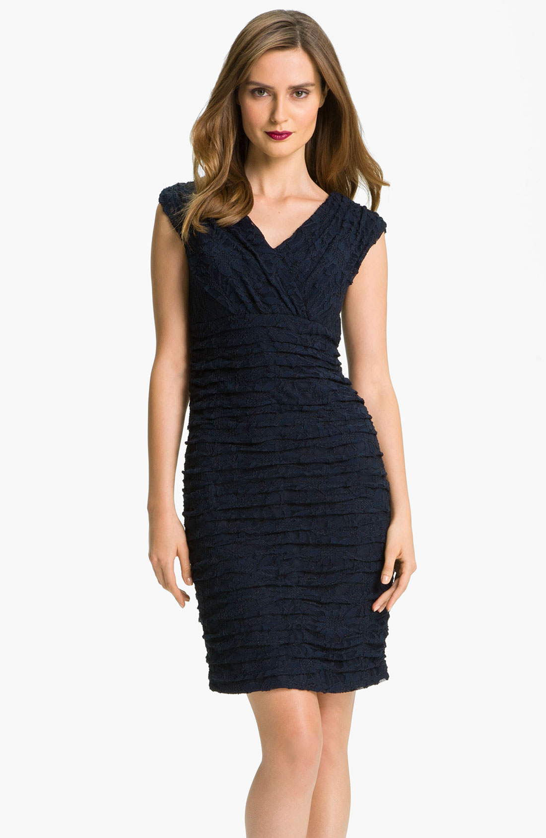 patra surplice ruched lace sheath dress in blue navy lyst