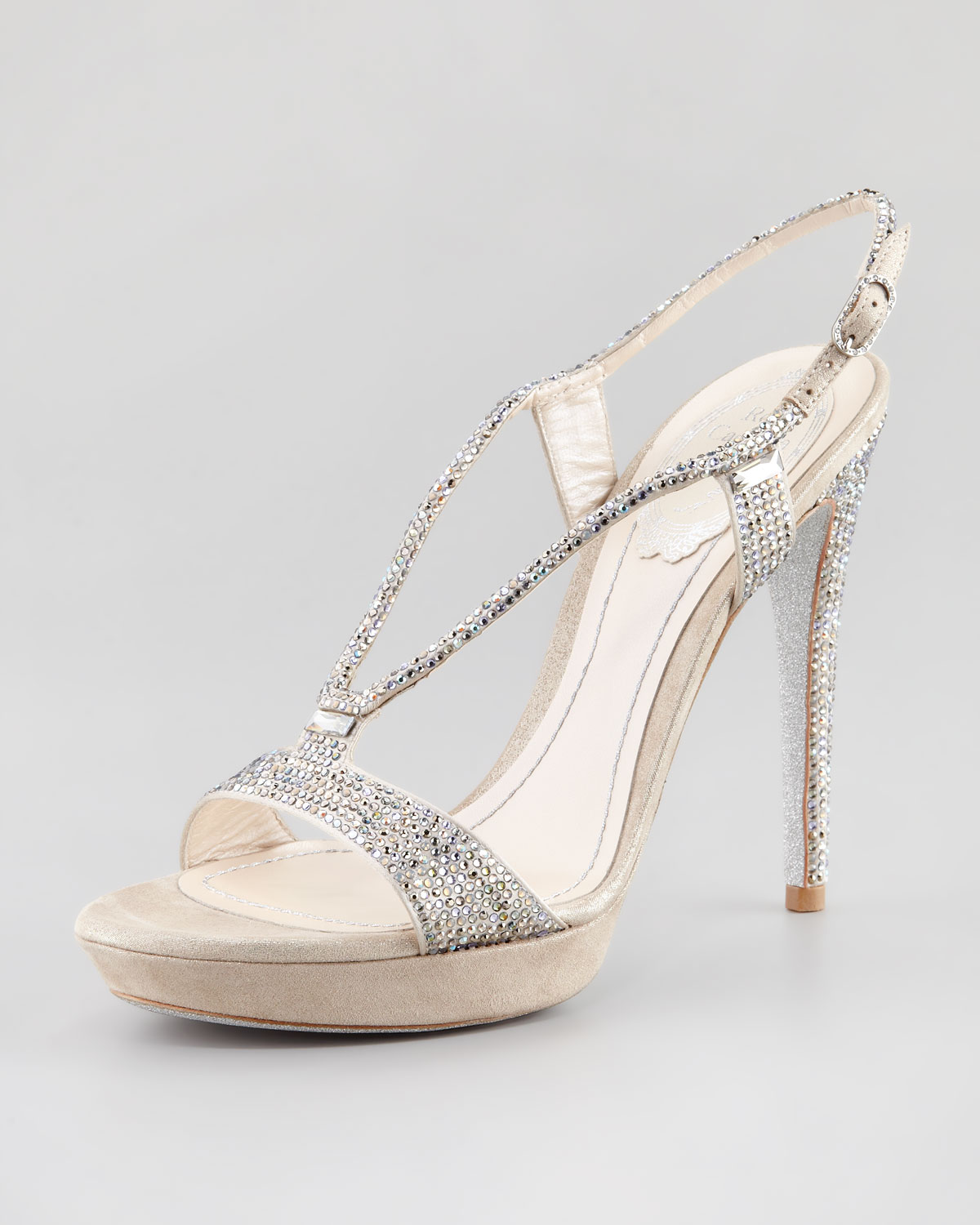 RENé CAOVILLA Suede sandals with crystals BTHVNtQpa