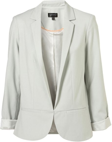 Topshop Structured Blazer in Gray (pistachio)
