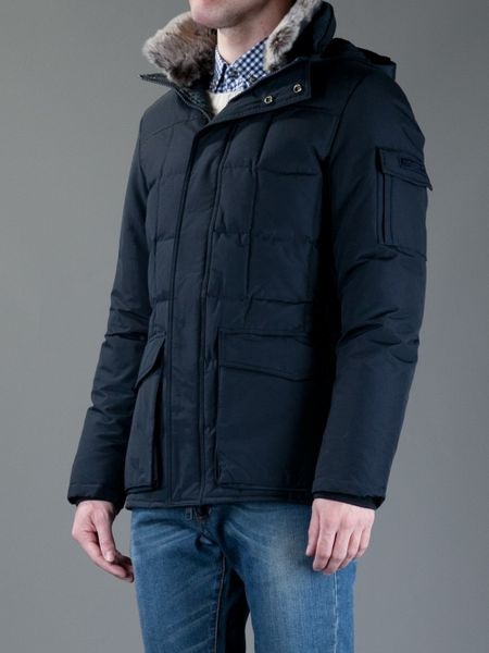 Woolrich Blizzard Feather Down Coat In Blue For Men Lyst