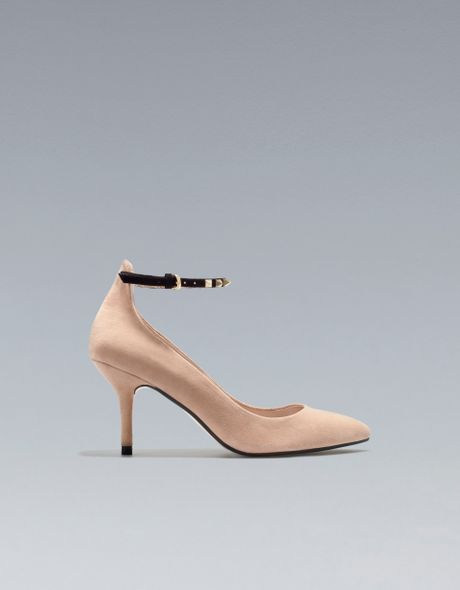 Zara Mid Heel with Ankle Strap in Beige (sand)