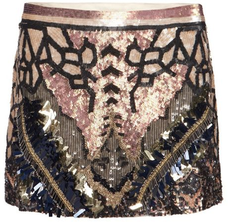Allsaints Embellished Dreamcatcher Skirt in Black (petrol)