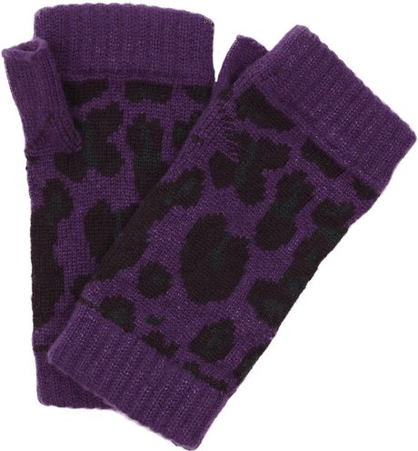 Christopher Kane Intarsia Cashmere Fingerless Gloves in Purple (lilac)