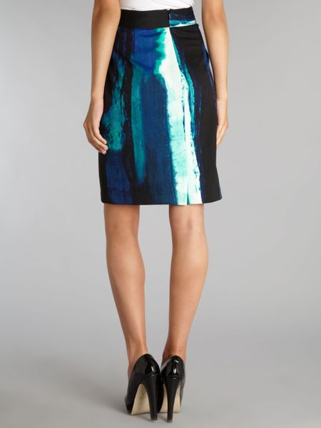 episode printed pencil skirt in blue multi coloured lyst