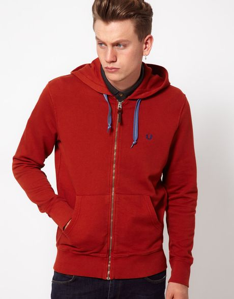 fred perry sweat hooded zip in red for men brassorange lyst. Black Bedroom Furniture Sets. Home Design Ideas