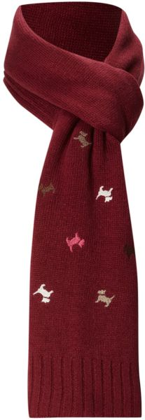 Radley Dog Knitting Pattern : Radley Cecile Embroidered Dog Knitted Scarf in Red Lyst