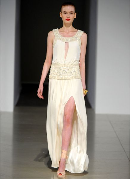 Temperley London Long Deco Beaded Dress In White Ivory