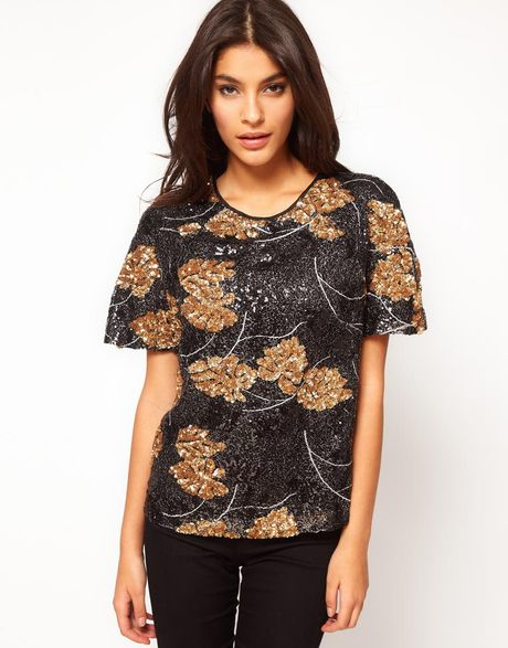 Asos Collection Asos Embellished Tshirt With Leaf Sequin