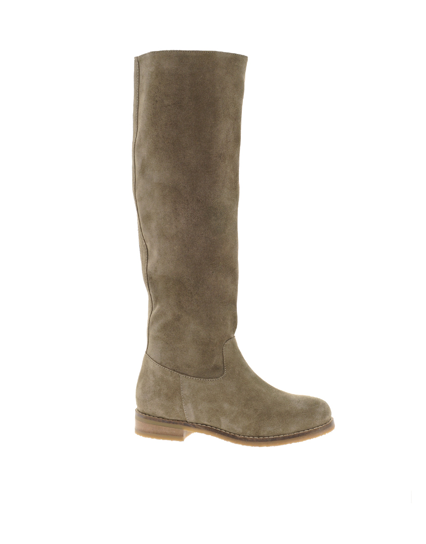 asos casanova suede knee high boots in brown taupe lyst