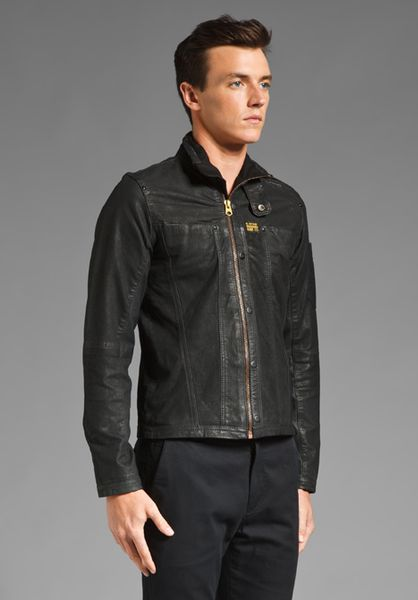 star Raw Mfd Leather Jacket in Black for Men | Lyst
