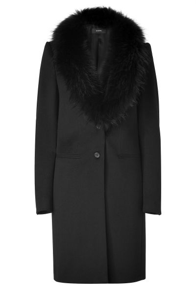 Joseph Black Wool Coat With Raccoon Fur Collar In Black Lyst