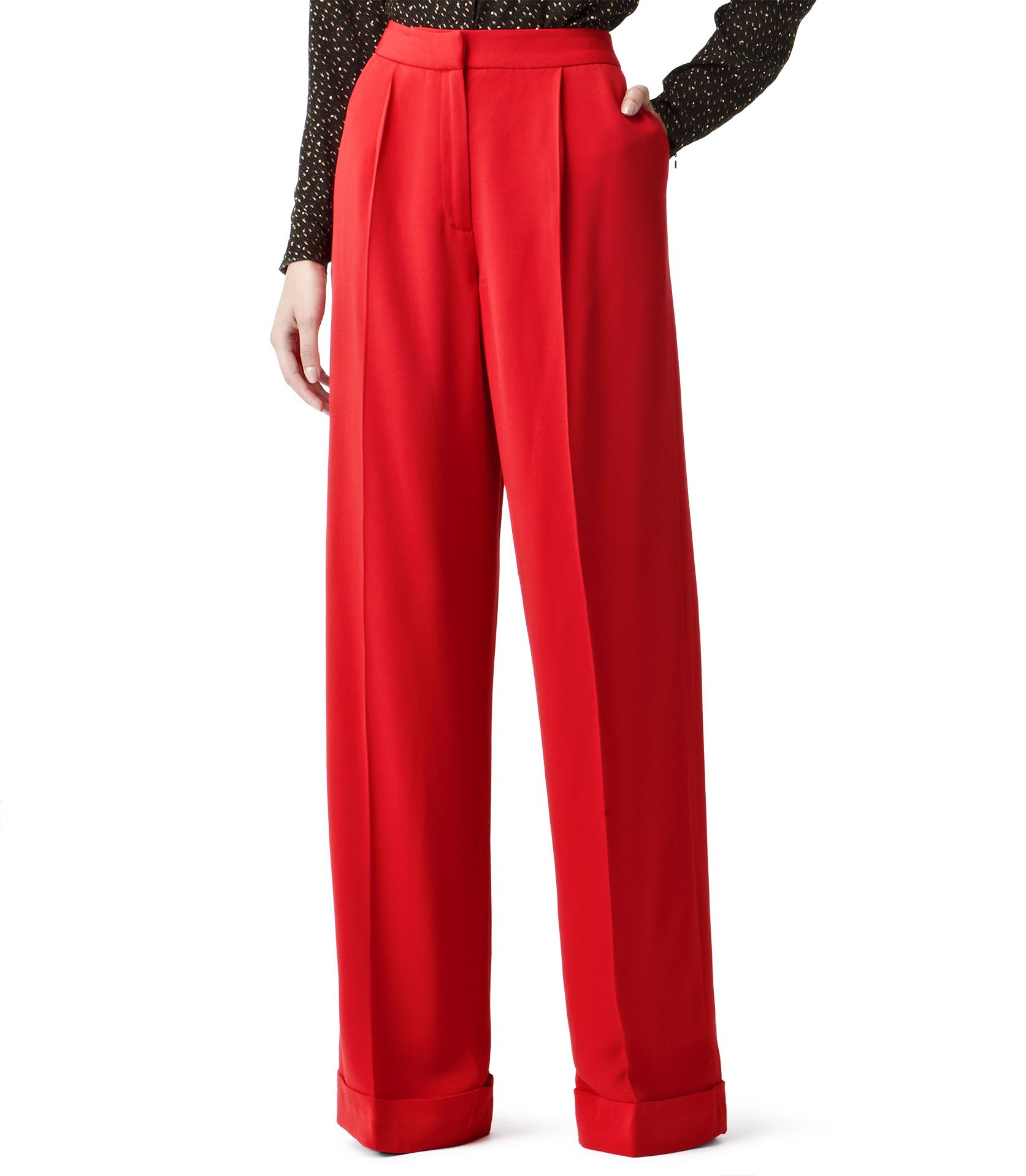 Reiss Daria Wide Leg Trousers in Red