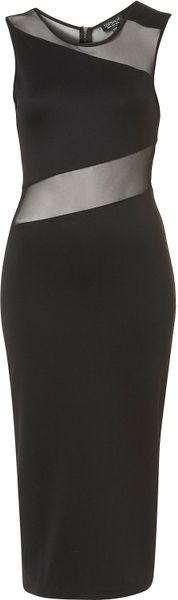 Topshop Zig Zag Mesh Midi Dress in Black