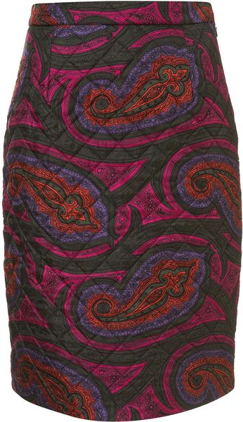 Topshop Quilted Paisley Silk Skirt  in Red (pink) - Lyst