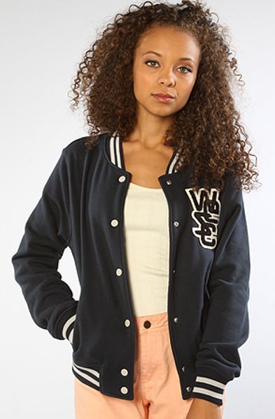 Wesc The Laika Fleece Varsity Jacket in Navy in Blue (navy)