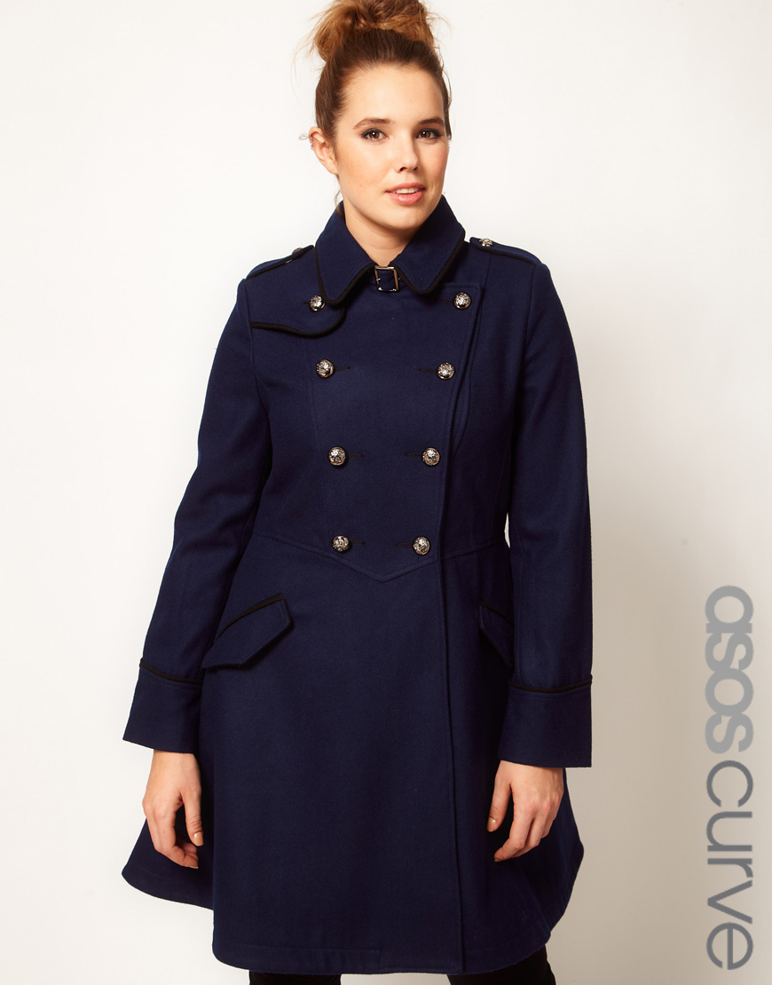 Lyst Asos Military Fit And Flare Coat In Blue