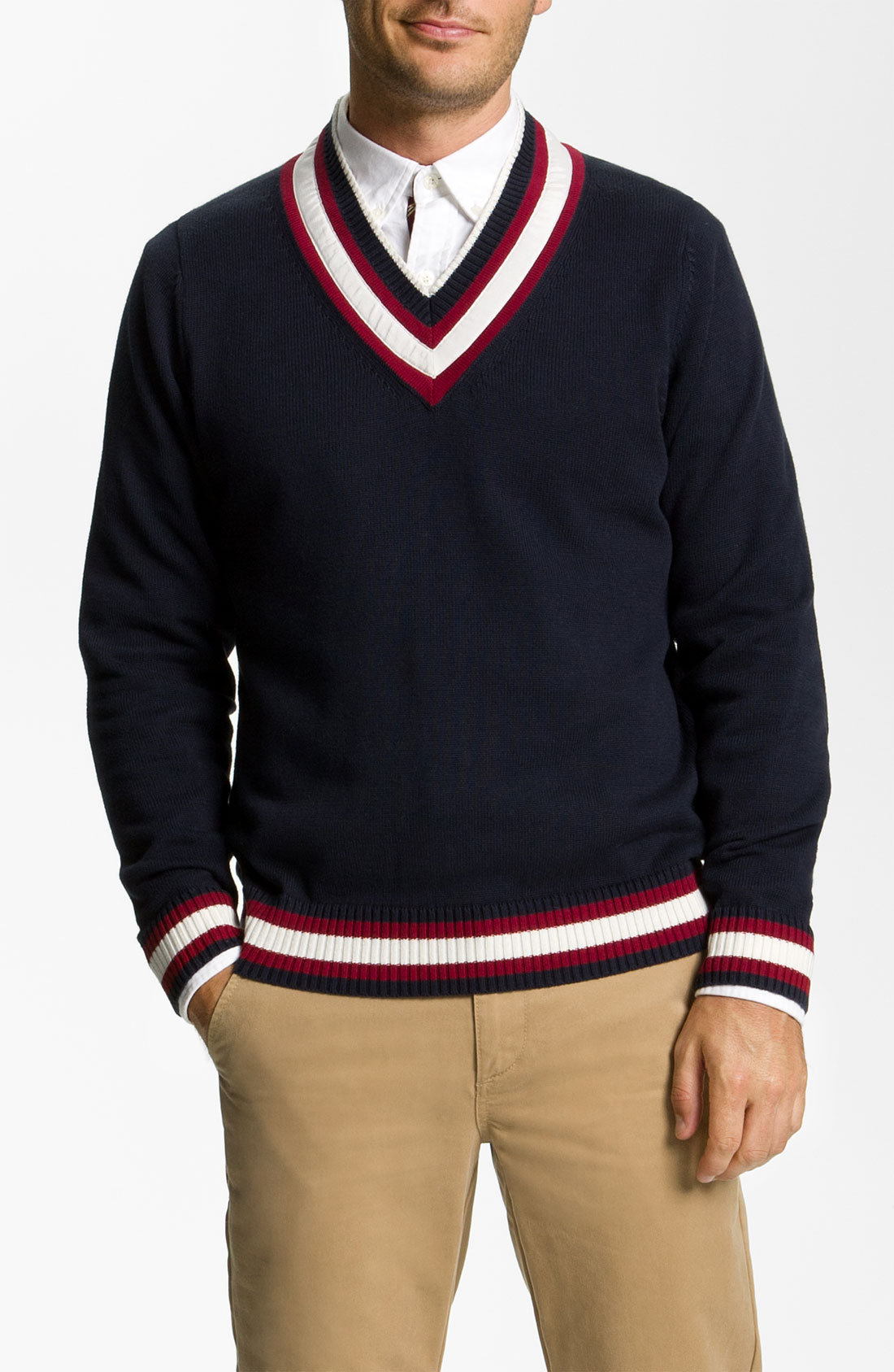 Brooks Brothers Cricket Cotton Wool Vneck Sweater in Black ...