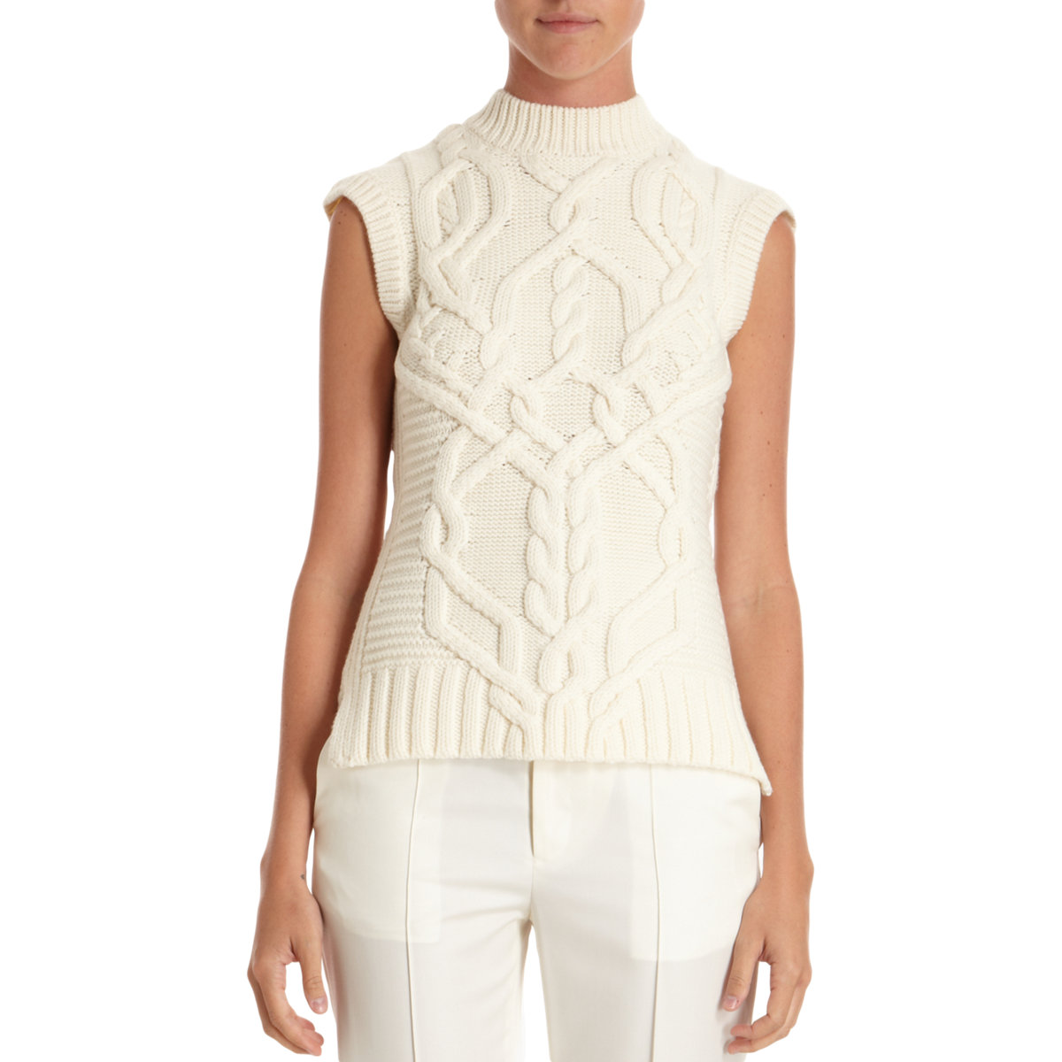 Derek Lam Cable Knit Sleeveless Sweater In White Lyst