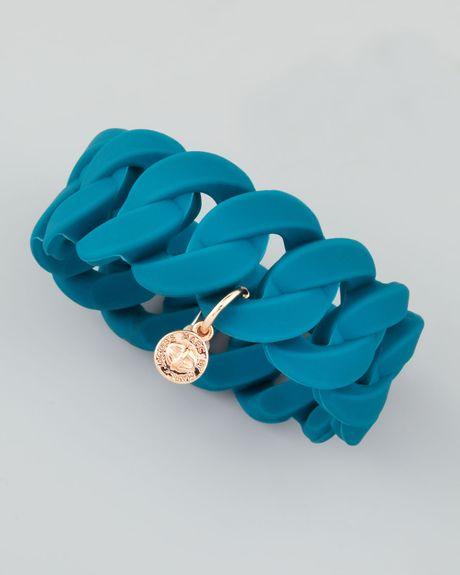 Marc By Marc Jacobs Wide Rubber Katie Turnlock Bracelet Teal in Blue (teal)