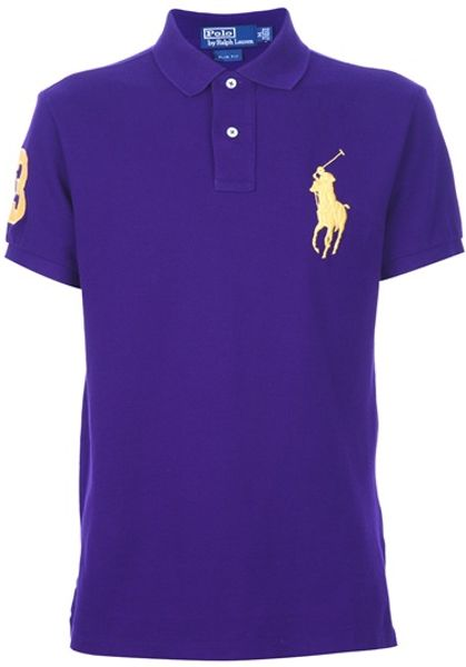 Ralph lauren blue label logo polo shirt in purple for men for Ralph lauren logo shirt