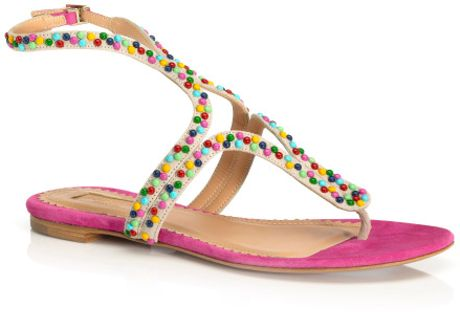 Aquazzura Candy Studs Caipiroska Sandal in Pink (hot pink) - Lyst