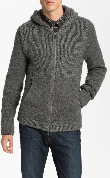 Zip Hoodie Knitting Pattern : John Varvatos Cable Knit Zip Hoodie in Gray for Men (seal ...