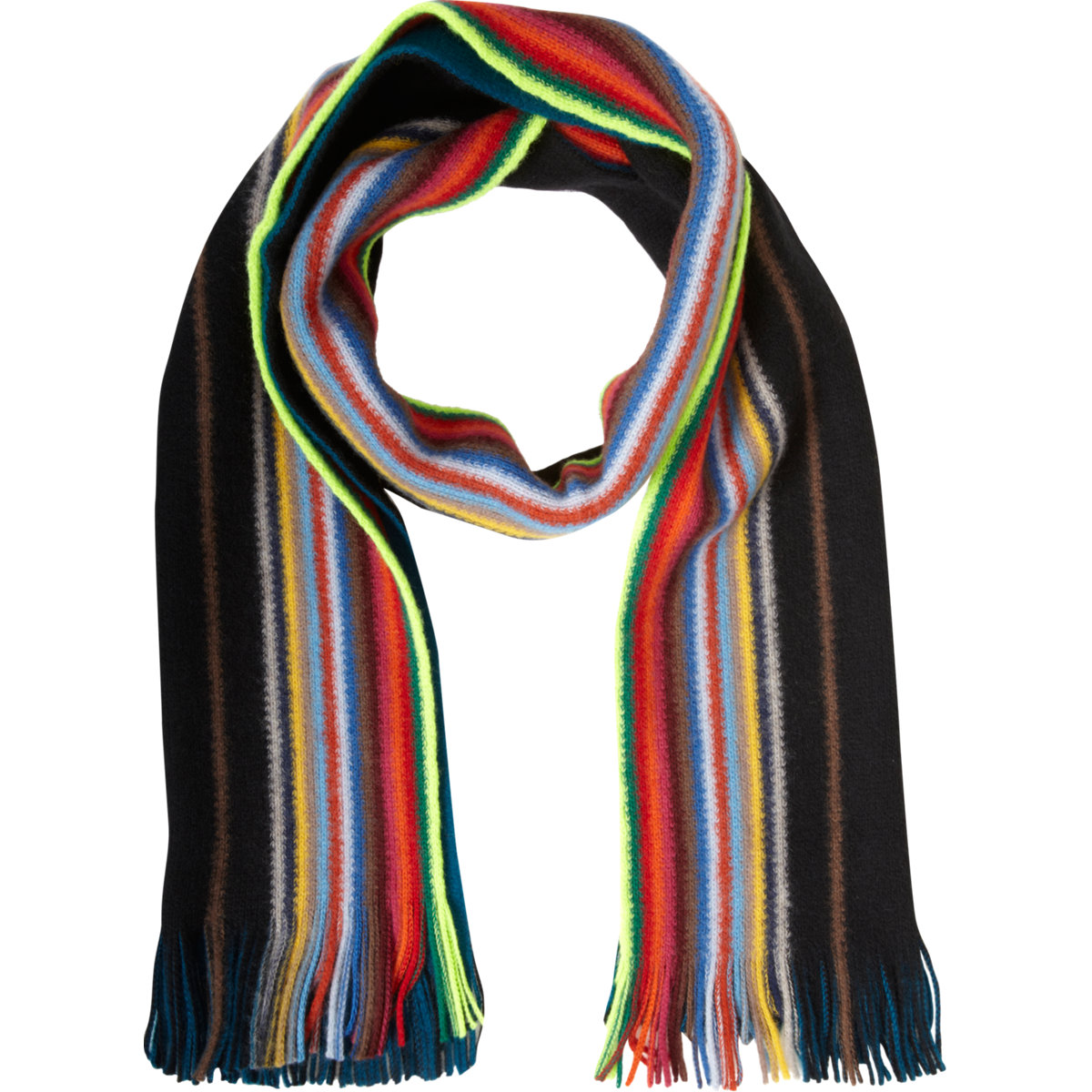 paul smith reversible multistripe scarf in multicolor for